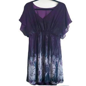 RW&CO Flutter Sleeve Tie Dye Dress size L